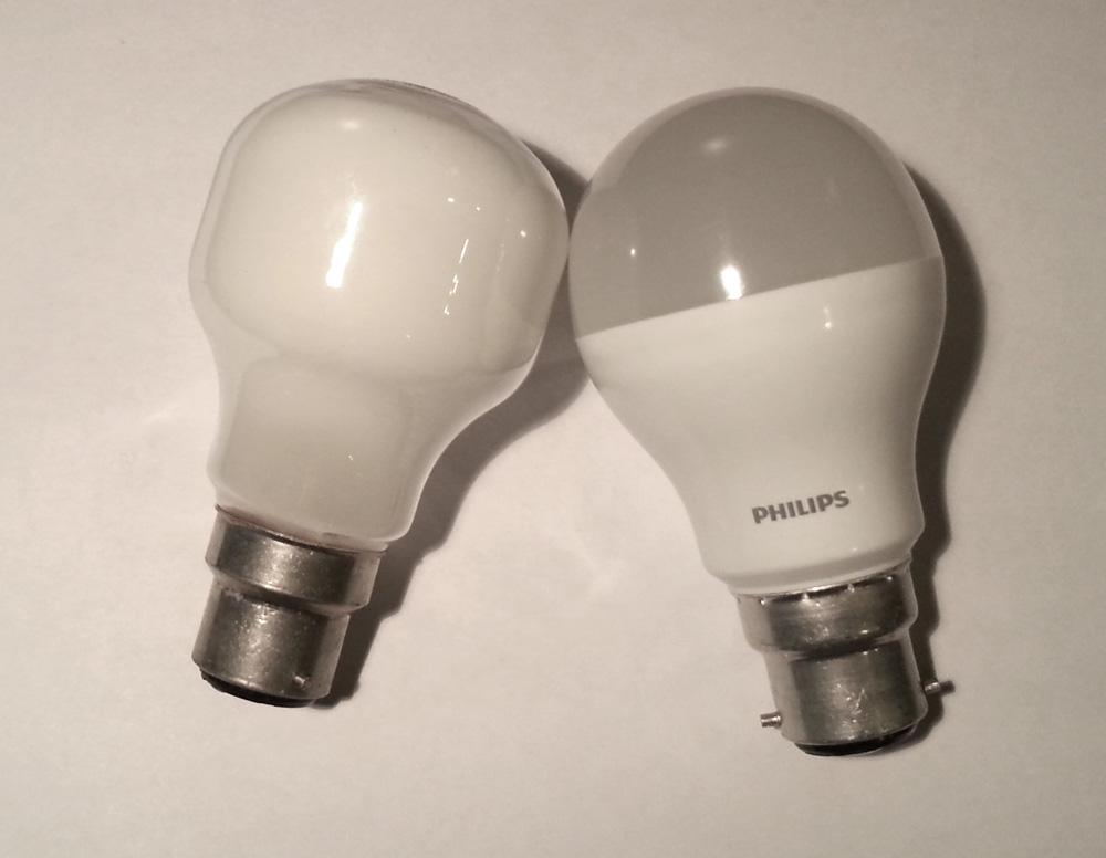 philips led light bulb on the left compared to a 40w incandesent bulb. Black Bedroom Furniture Sets. Home Design Ideas
